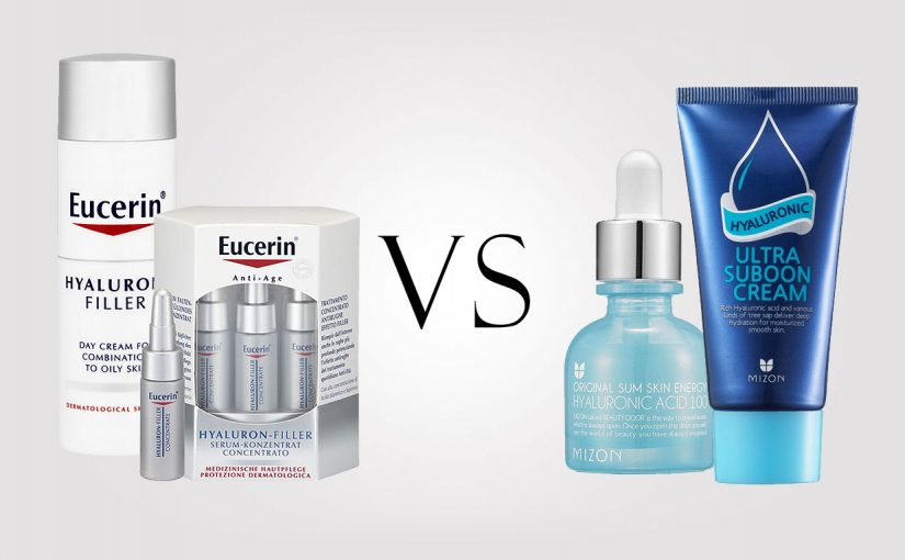 Eucerin VS Korean brand Mizon. Hyaluronic acid skin care
