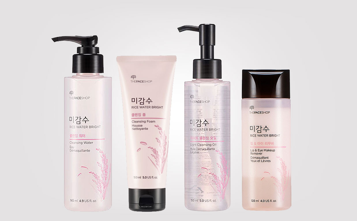 Korean product line TheFaceShop Rice Water Bright cleansing products, K-beauty Europe
