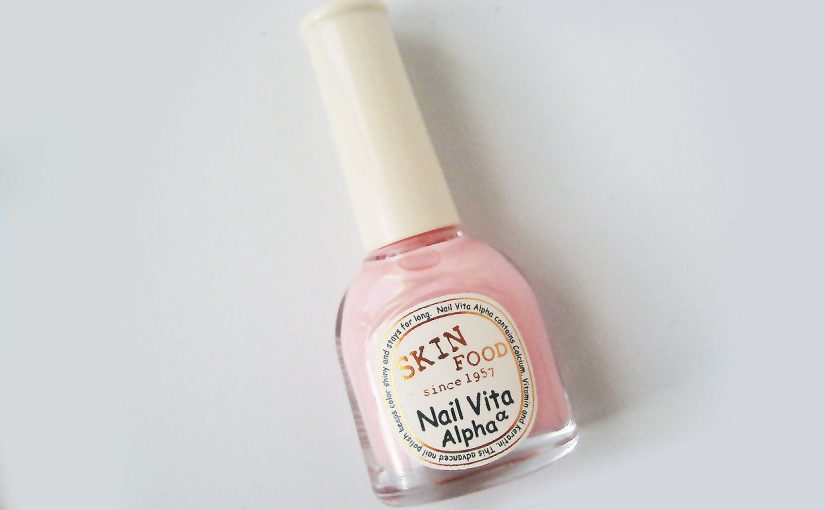 Korean nail polish Skin Food Nail Vita Alpha, baby pink in color #APK10