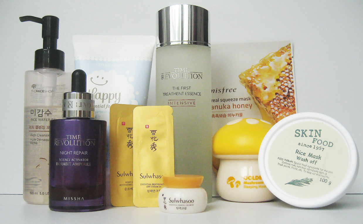 Night skin care routine products