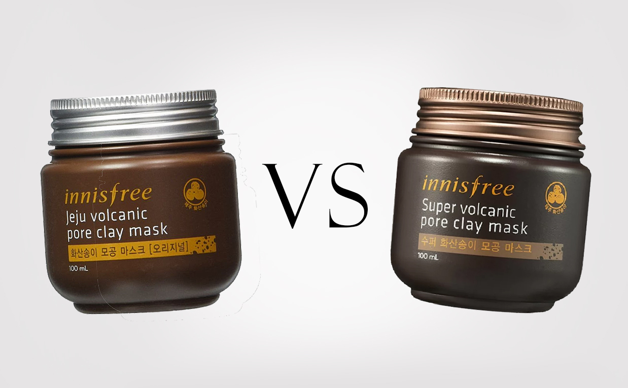 Innisfree Super Volcanic Pore Clay Mask VS Innisfree Jeju Volcanic Pore Clay Mask from Korea Korean Skin Care K-Beauty Europe