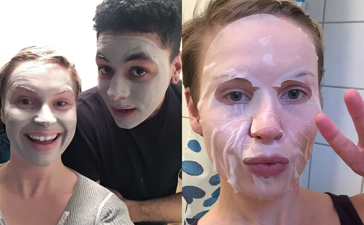 Combination acne prone skin before and after using Korean skin care. K-beauty Europe