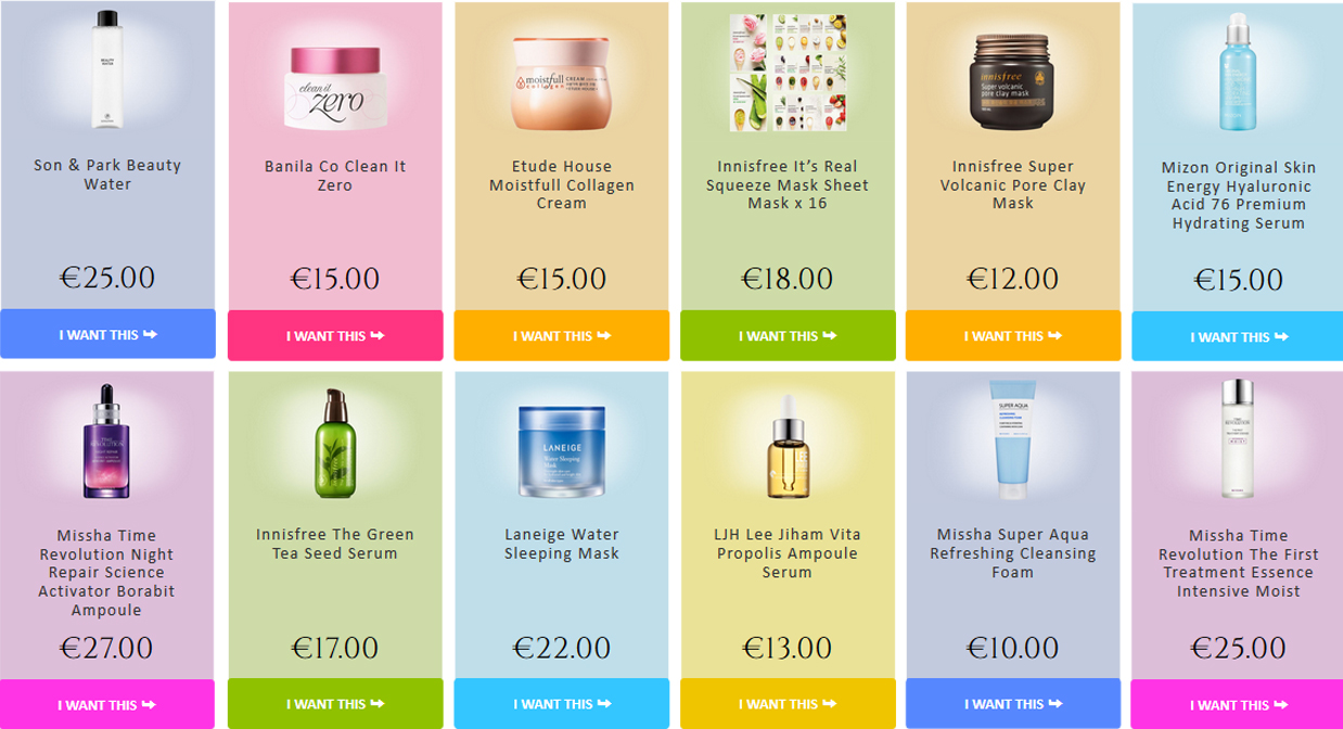 New products in the Webshop. Buy directly from Korea. Korean skin care K-beauty Europe
