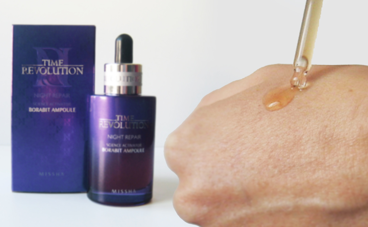 Review Missha Time Revolution Night Repair Borabit Ampoule serum from Korea. Korean skin care K-beauty Europe