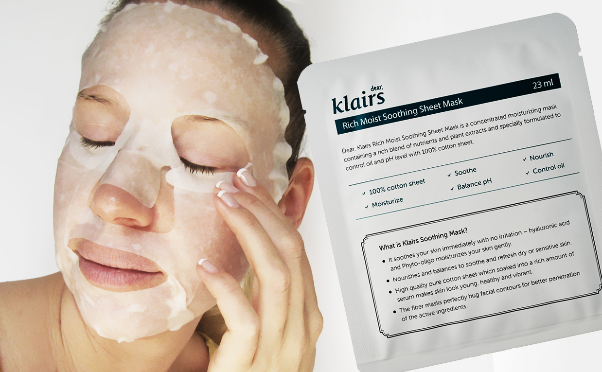 First Impression Review Klairs Rich Moist Soothing Sheet Mask from Korea K-Beauty Blog Europe