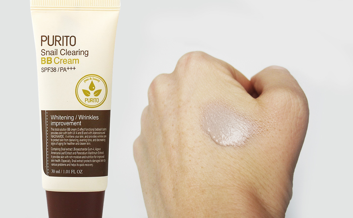 Review PURITO Snail Clearing BB Cream SPF 38 / PA ++ from Korea. K-beauty Europe Blog