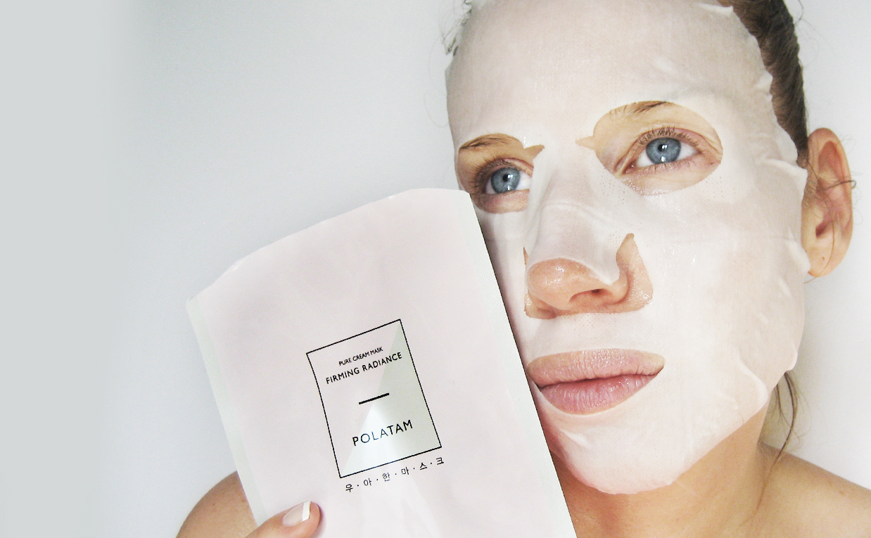 First impression review Polatam Pure Cream Mask Firming Radiance sheet mask from Korea K-beauty Blog Europe Korean skin care