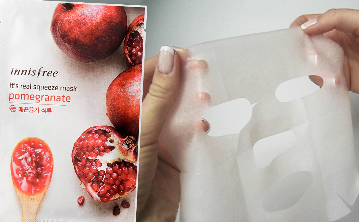 Review Innisfree It's Real Squeeze Mask Pomegranate sheet mask from Korea Korean skin care K-beauty Europe Blog