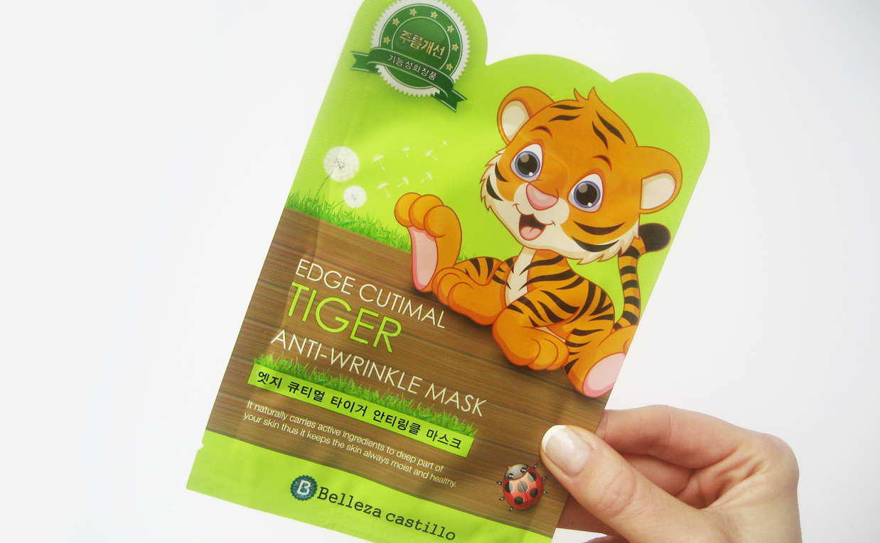 First impression review Belleza Castillo Edge Cutimal Mask Tiger Anti-wrinkle sheet mask from Korea Korean skin care K-beauty Europe