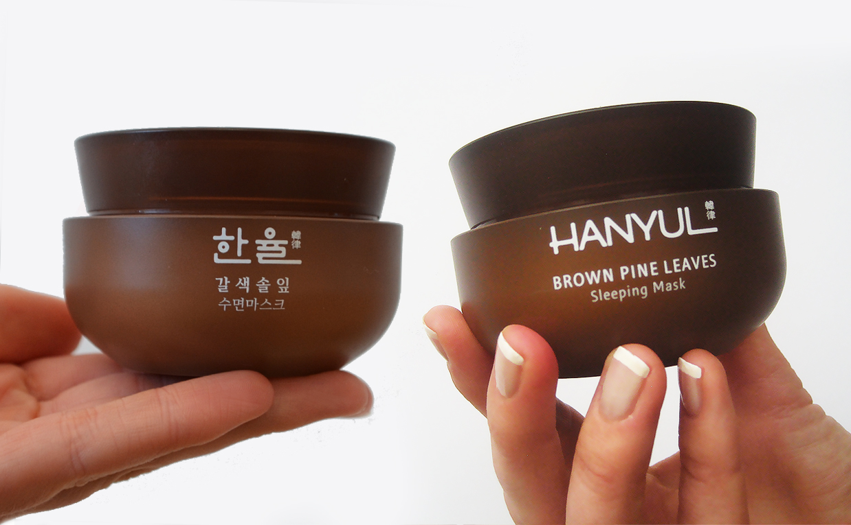 First impression review Hanyul Brown Pine Leaves Sleeping Mask / sleeping pack from Korea. Korean Skin Care K-beauty Blog Europe