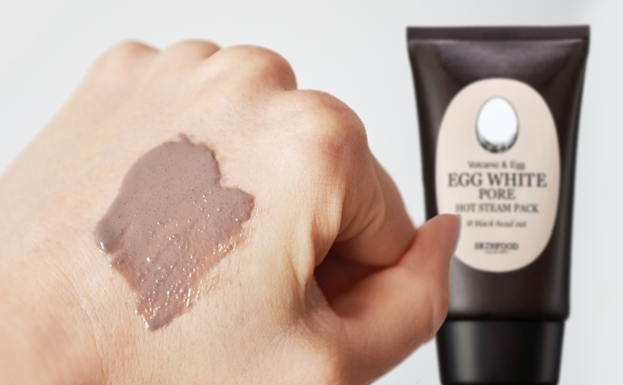 First impression review Skinfood Egg White Pore Hot Steam Pack Clay mask Scrub from Korea Korean Skin Care K-Beauty Blog Europe
