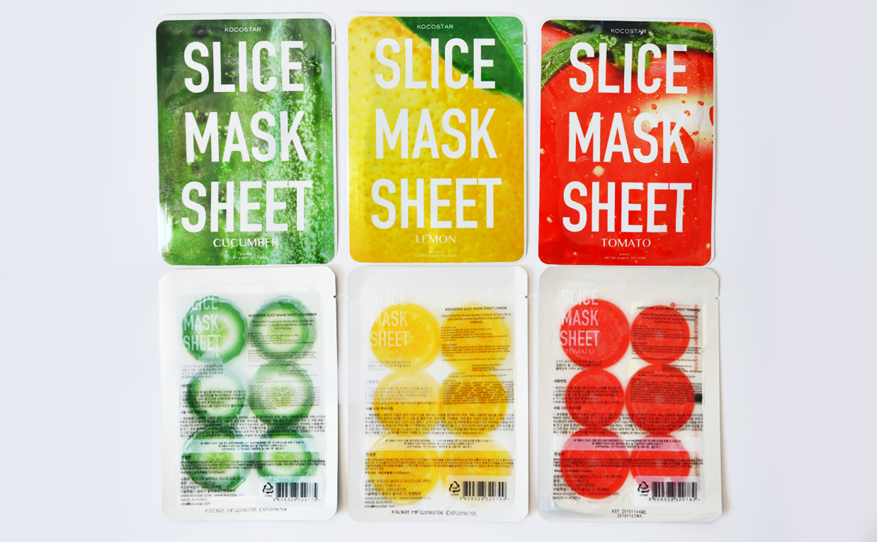 First impression review Kocostar Slice Mask Sheet mask lemon cucumber tomato from Korea Korean sheet mask K-beauty Blog Europe