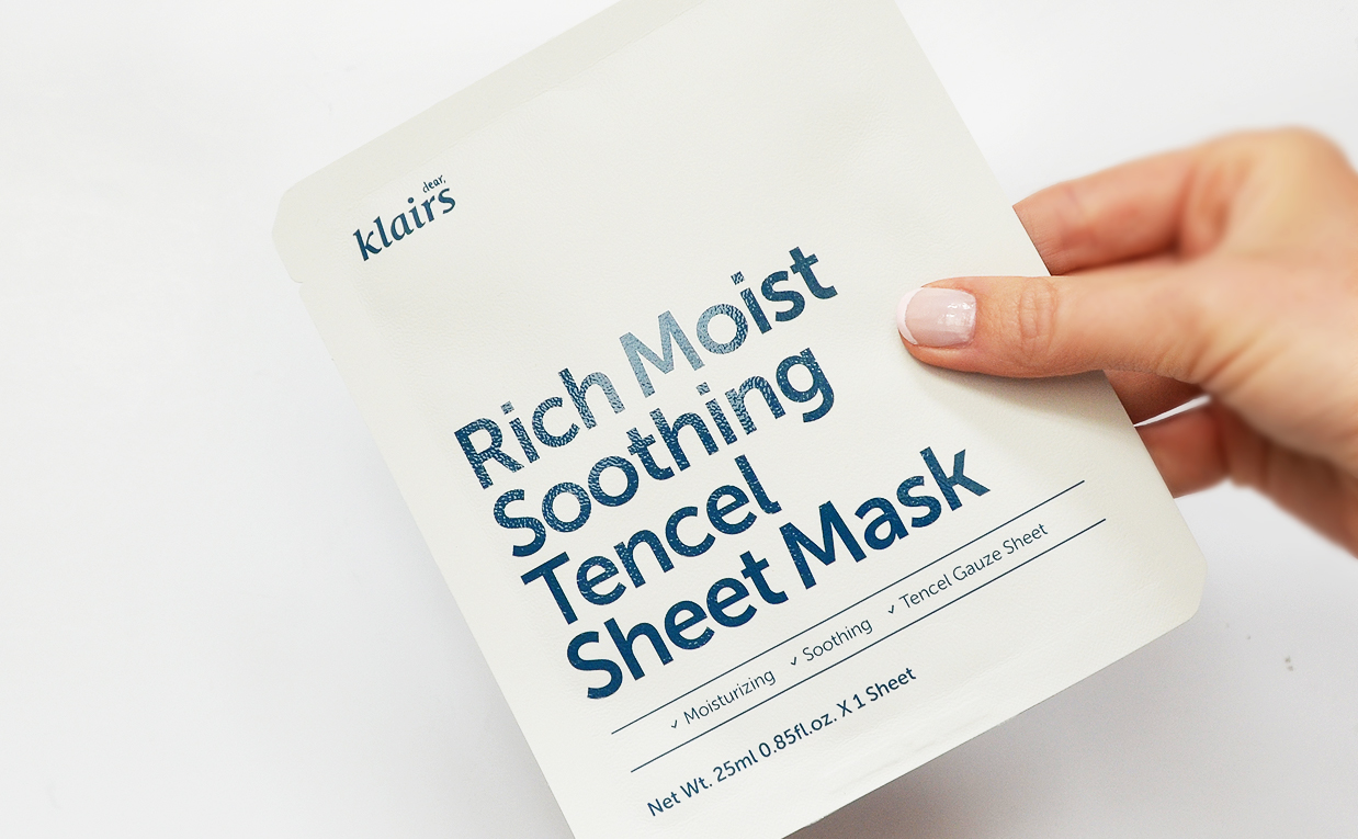 Review Klairs Rich Moist Soothing Tencel Sheet Mask From Korea Acne Troubled Skin Redness Korean Skin Care K-Beauty Blog Europe