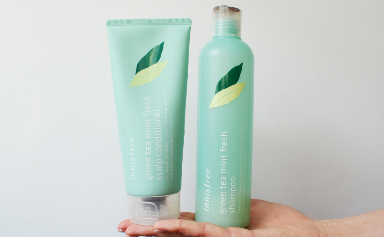First impression review Innisfree Green Tea Mint Fresh Shampoo Innisfree Green Tea Mint Fresh Scalp Conditioner oily hair From Korea K-Beauty Blog Europe