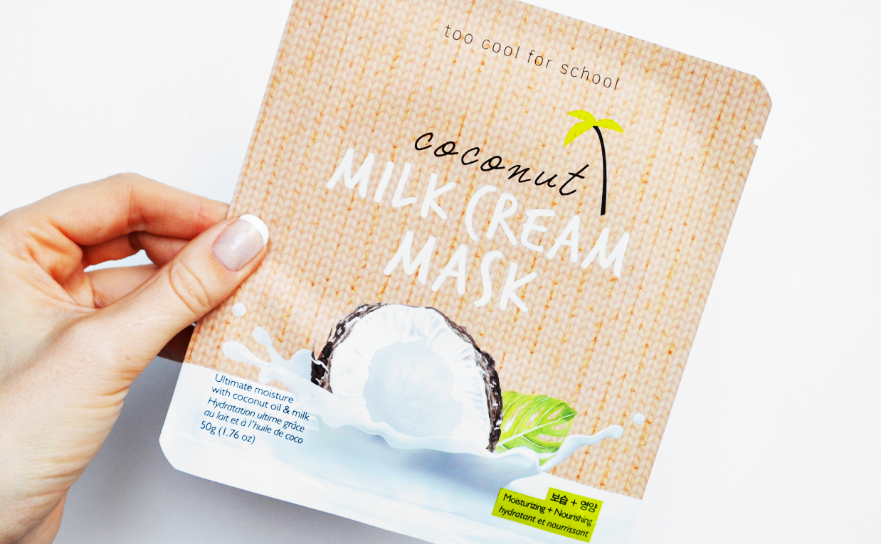 Review Too Cool For School Coconut Milk Cream Mask sheet mask from Korea Korean Skin Care K-Beauty Blog Europe