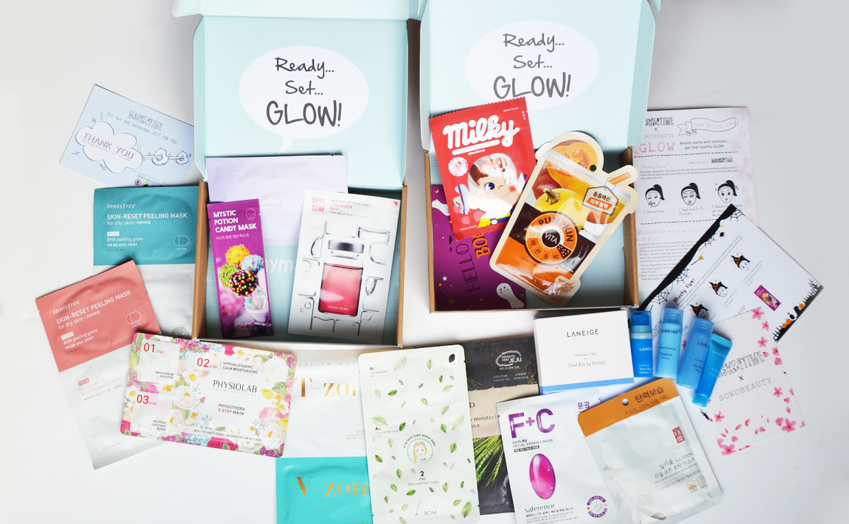 This month's Glow box from Masktime Korean sheet mask's K-beauty Blog Europe