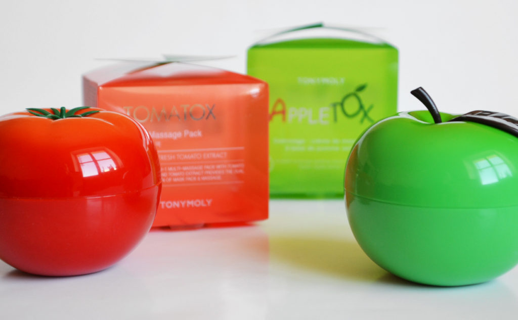 Tonymoly Appletox VS Tomatox exfoliating massage masks face masks from Korea Korean skin care K-beauty Blog Europe