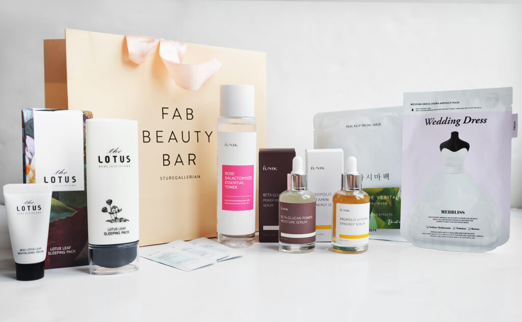 Goodiebag from Fab Beauty Bar Korean skin care Sturegallerian Stockholm K-beauty Blog Europe