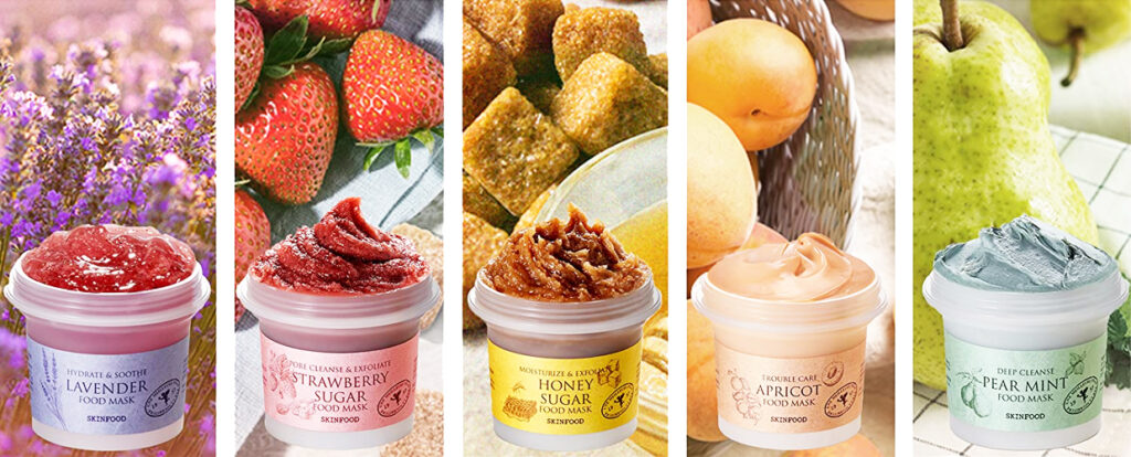 Skinfood food mask 2020 lavender pear mint strawberry honey sugar apricot facial mask from Korea Korean skin care K-beauty Blog Europe