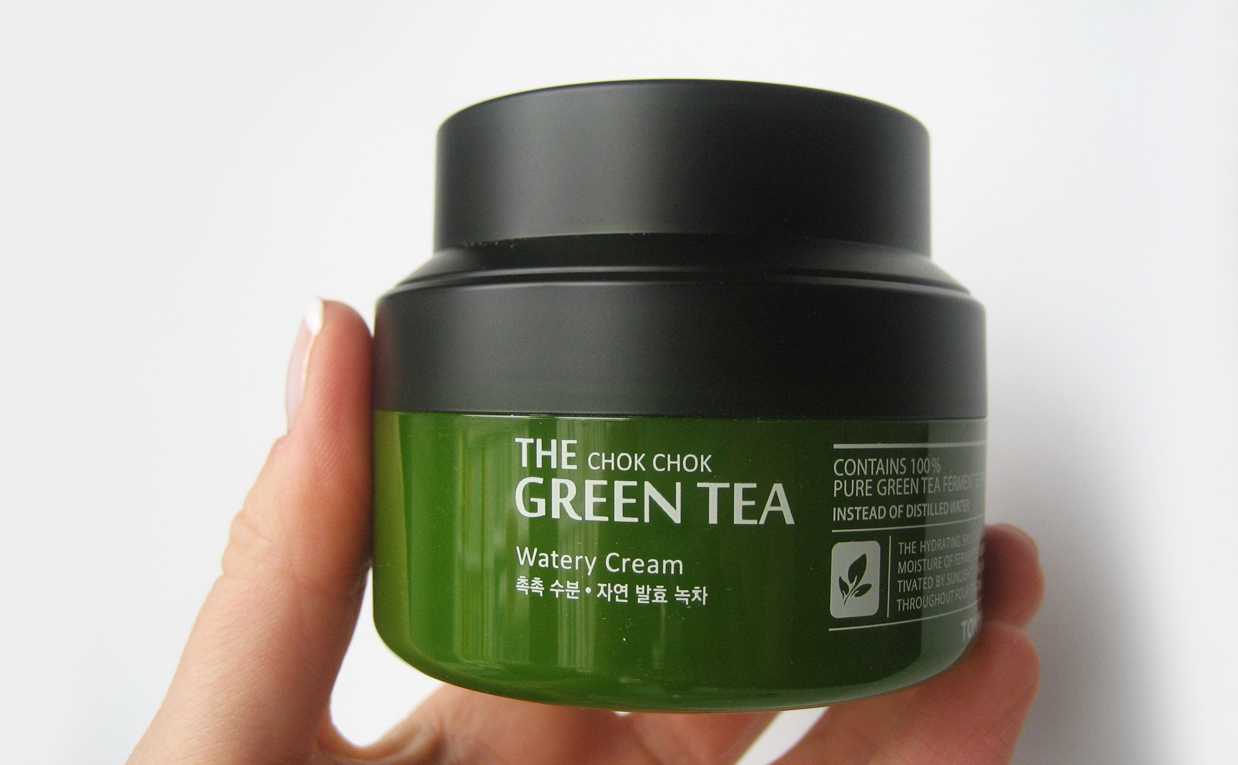 First impression recension Tonymoly The Chok Chok Green Tea Watery Cream ansiktskräm från Korea K-beauty Blogg Sverige Koreansk hudvård