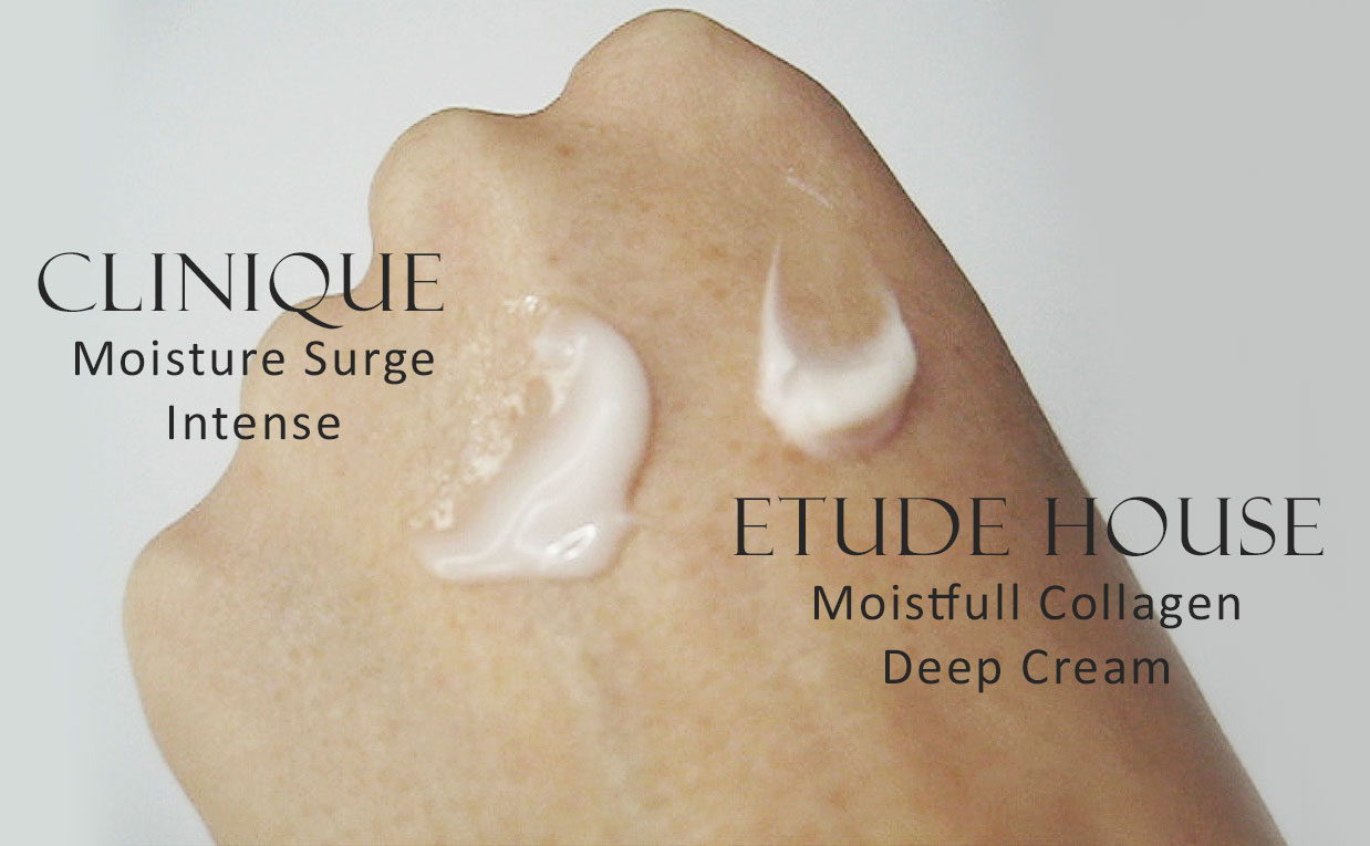 Etude House Moistfull Collagen Deep Cream VS Clinique Moisture Surge Intense Korean skin care K-beauty Sverige