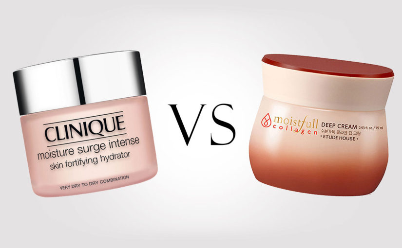 Etude House Moistfull Collagen Deep Cream VS Clinique Moisture Surge Intense ansiktskräm Korean skin care K-beauty Sverige