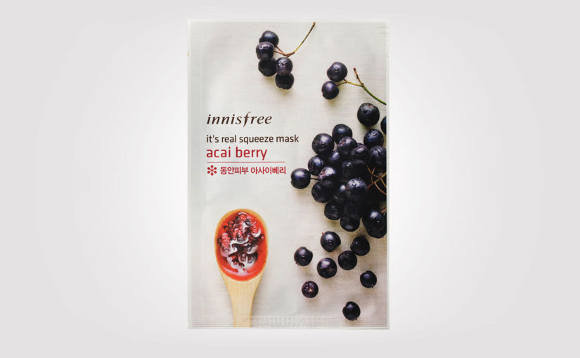 FIRST IMPRESSION recension Innisfree Its Real Squeeze Mask Acai Berry ansiktsmask från Korea. Koreansk hudvård K-beauty Sverige