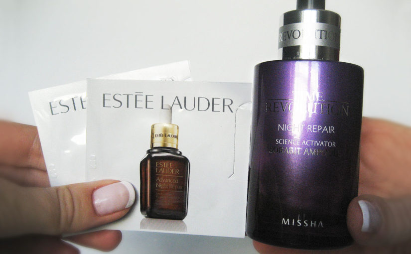 Estee Lauder Advanced Night Repair serum VS Missha Time revolution night repair ampoule serum Koreansk hudvård K-beauty Sverige