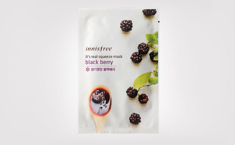 First impression recension Innisfree It's Real Squeeze Mask Blackberry sheet mask från Korea Koreansk hudvård K-beauty Sverige