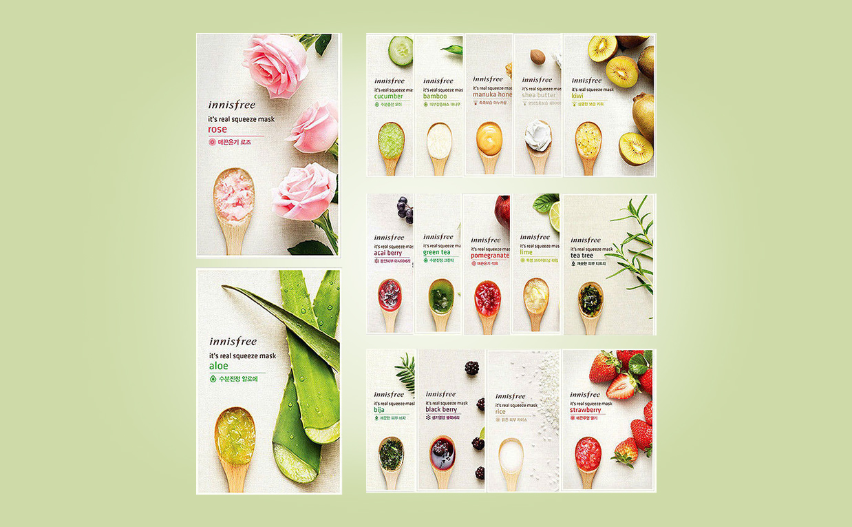 Köpa Innisfree it's real squeeze mask 16 pcs sheet mask från Korea Koreansk hudvård K-beauty Sverige