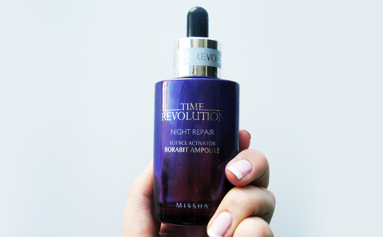Recension Missha Time Revolution Night Repair Borabit Ampoule från Korea. Koreansk hudvård K-beauty Sverige