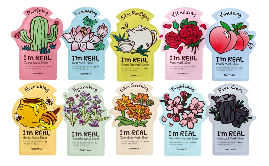 Nyheter från Tonymoly I'm Real Sheet Masks nytt 2017 Cactus, Charcoal, Lotus, Honey Koreansk hudvård K-Beauty Sverige