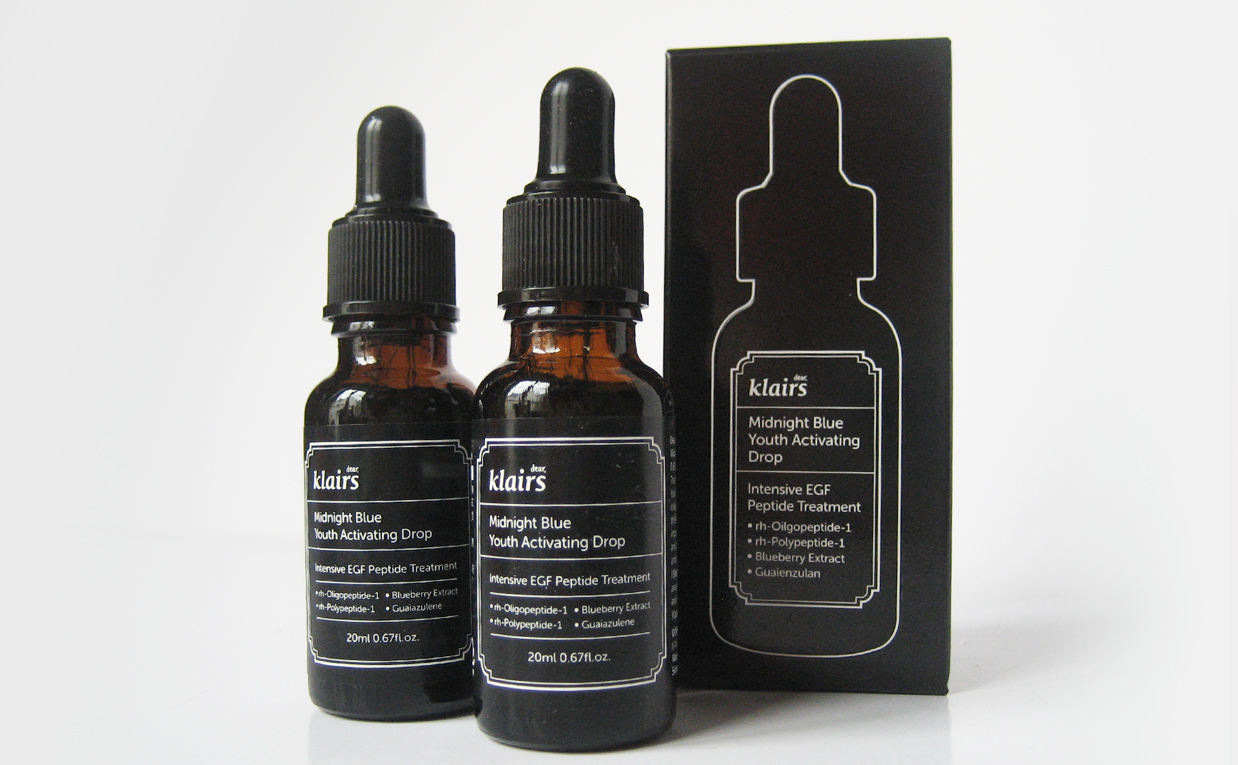 Recension Klairs Midnight Blue Youth Activating Drop Serum blå serum från Korea. Koreansk hudvård K-beauty Sverige Blogg