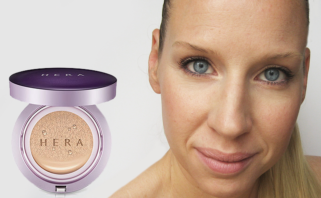 First impression recension HERA UV Mist Cushion Ultra Moisture SPF 34/PA++ foundation från Korea K-beauty Blogg Sverige