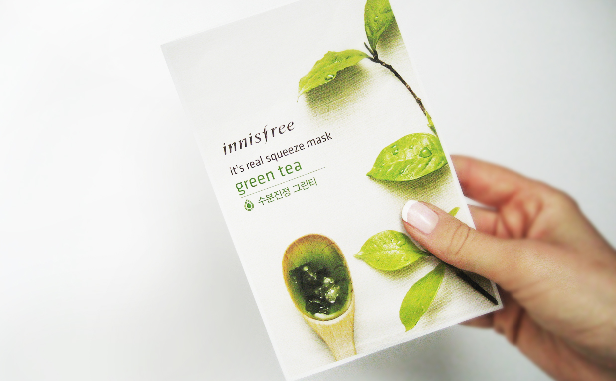 Recension Innisfree It's Real Squeeze Mask Green Tea sheet mask från Korea Koreansk hudvård K-beauty Blogg Sverige