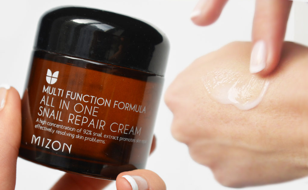 Mizon All In One Snail Repair Cream från Korea mot rynkor och acne Koreansk hudvård K_beauty Blogg Sverige
