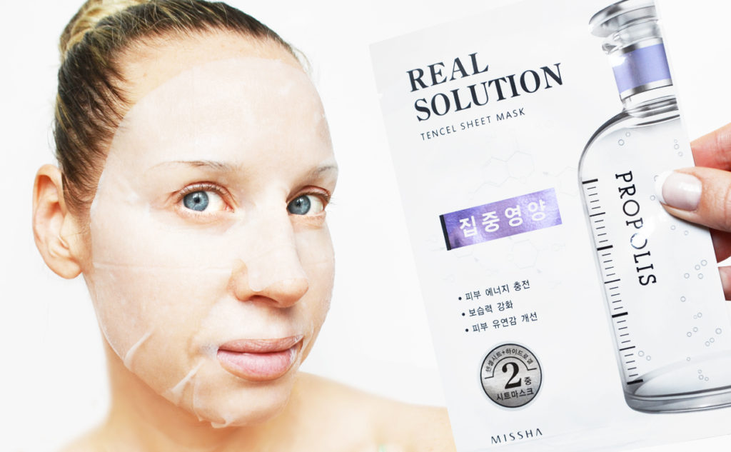 Missha Real Solution Tencel Sheet Mask Propolis sheet mask från Korea Koreansk hudvård K-beauty Blogg Sverige