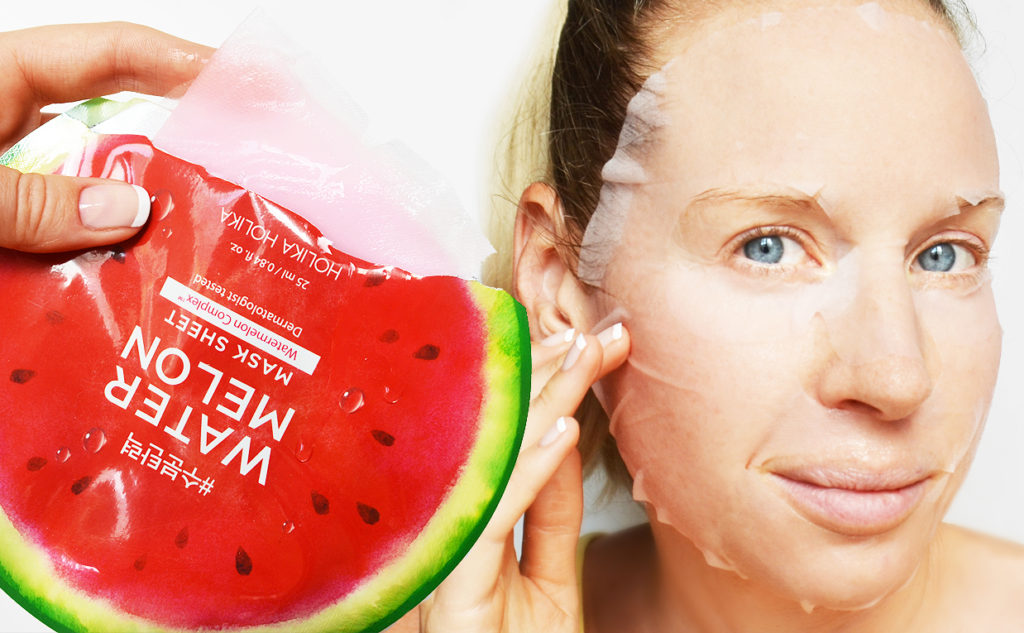 Holika Holika Water Melon Mask Sheet mask vattenmelon från Korea Koreansk hudvård K-beauty Blogg Sverige