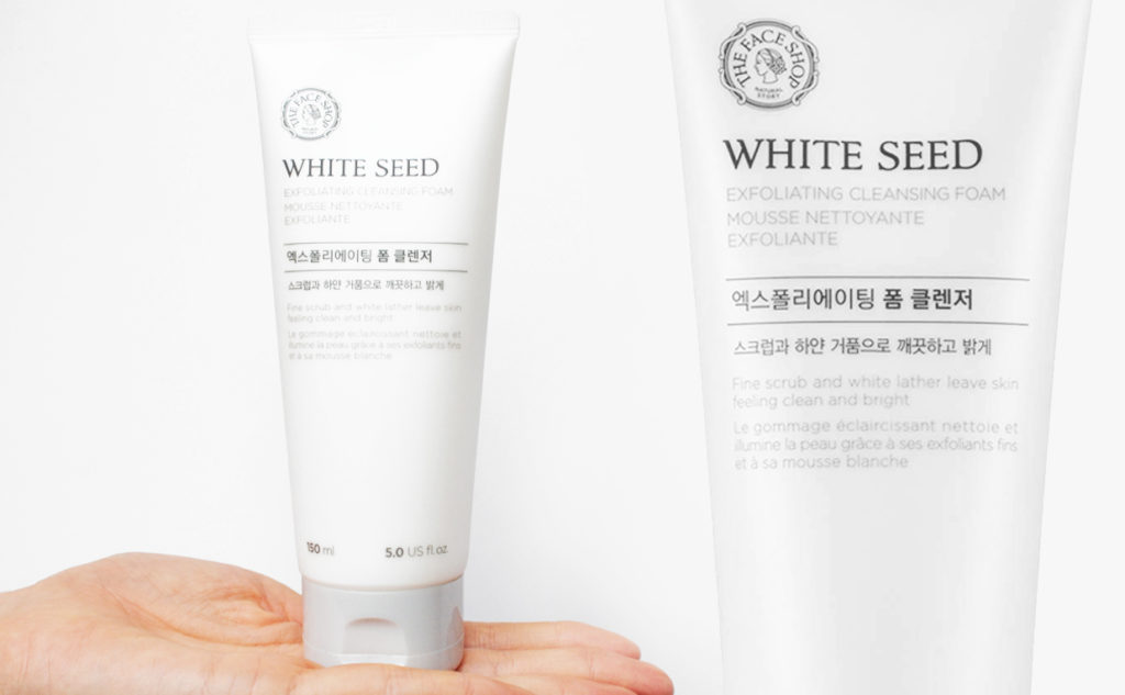 Recension Thefaceshop White Seed Exfoliating Cleansing Foam Koreansk exfolierande skummande rengöring från Korea K-beauty Blogg Sverige