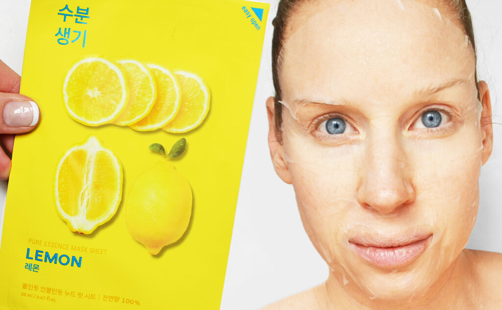 Holika Holika Pure Essence Mask Sheet Lemon sheet mask från Korea Koreansk hudvård K-beauty Blogg Sverige