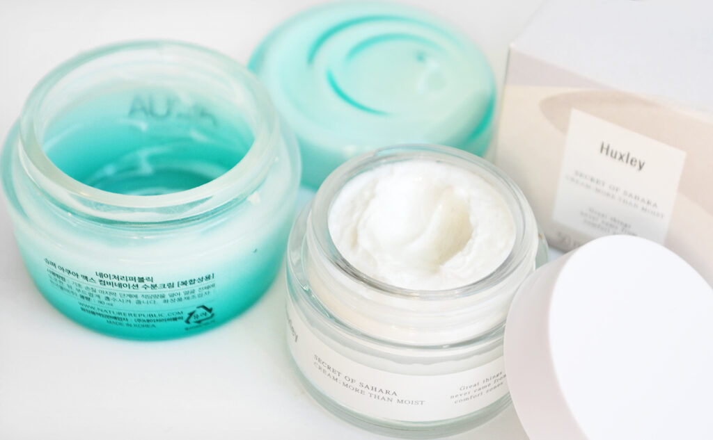 Huxley More Than A Moist Moisturizing Cream Nature Republic Super Aqua Max Combination Watery Cream Koreansk ansiktskräm K-beauty Blogg Sverige