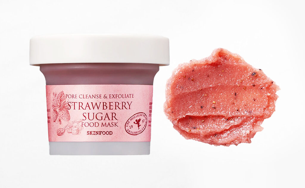Skinfood Strawberry Sugar Food Mask Pore Cleanse Exfoliate skrubb mask från Korea Koreansk hudvård K-beauty Blogg Sverige