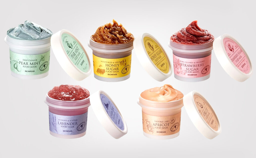 Skinfood food mask 2020 lavender pear mint strawberry honey sugar apricot ansiksmask från Korea koreansk hudvård K-beauty Blogg Sverige